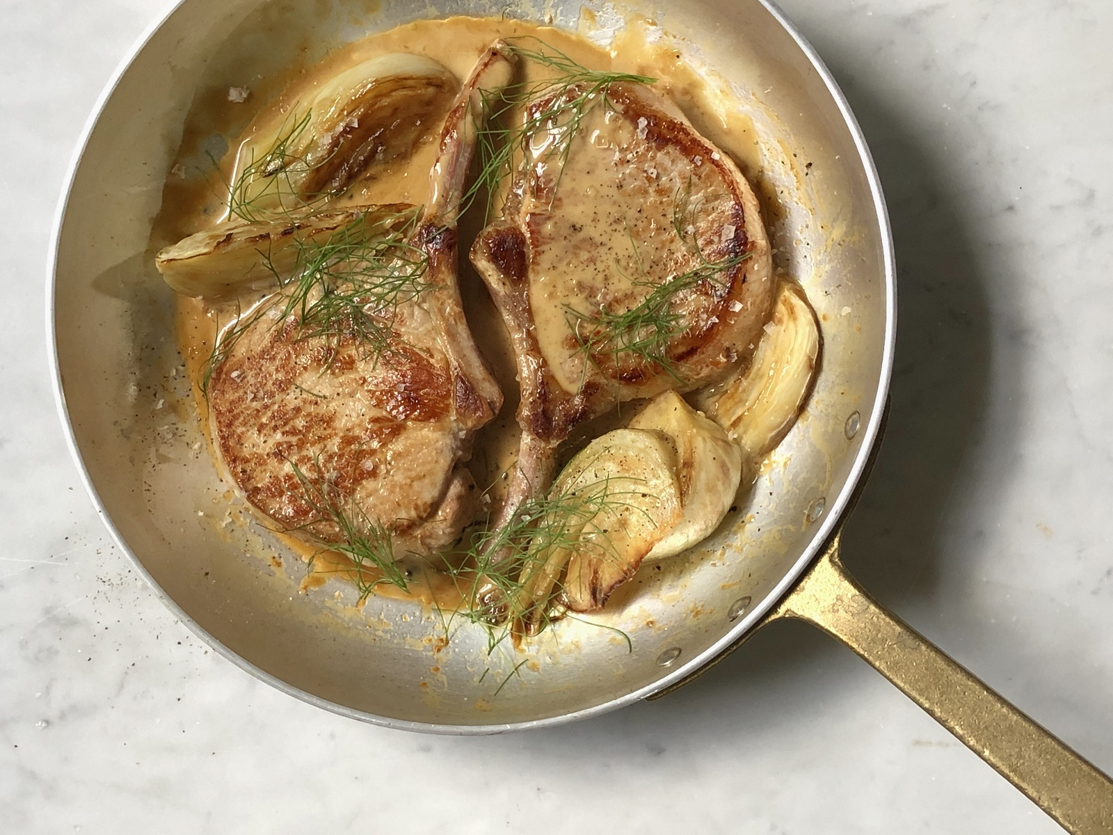 Pan fried pork cutlets with fennel